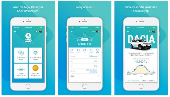 Garaj Sepeti Araba Değeri Uygulama Ekranları